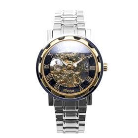 自動巻き腕時計 透かし彫りが美しいスケルトン腕時計 ATW013-GDBK メンズ腕時計   手巻き機能付き自動巻腕時計 保証付き