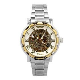 自動巻き腕時計 透かし彫りが美しいスケルトン腕時計 ATW013-GDWH メンズ腕時計   手巻き機能付き自動巻腕時計 保証付き