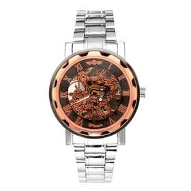 自動巻き腕時計 透かし彫りが美しいスケルトン腕時計 ATW013-PGBK メンズ腕時計   手巻き機能付き自動巻腕時計 保証付き