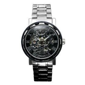 自動巻き腕時計 透かし彫りが美しいスケルトン腕時計 ATW013-SVBK メンズ腕時計 | 手巻き機能付き自動巻腕時計 保証付き