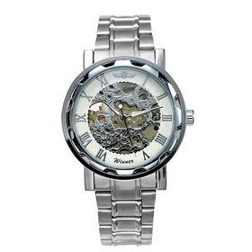 自動巻き腕時計 透かし彫りが美しいスケルトン腕時計 ATW013-SVWH メンズ腕時計   手巻き機能付き自動巻腕時計 保証付き