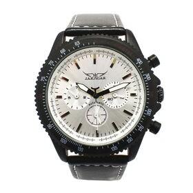 自動巻き腕時計 ブラックケース 日付カレンダー付き ATW015-WHT メンズ腕時計   手巻き機能付き自動巻腕時計 保証付き