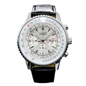 自動巻き腕時計 ビッグケース回転ベゼル腕時計 日付カレンダー ATW018-WHT メンズ腕時計 | 手巻き機能付き自動巻腕時計 保証付き
