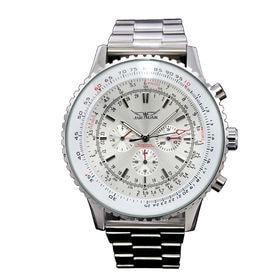 自動巻き腕時計 ビッグケース回転ベゼル腕時計 日付カレンダー ATW018-WHST メンズ腕時計 | 手巻き機能付き自動巻腕時計 保証付き
