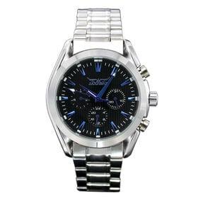 自動巻き腕時計 黒文字盤に青色が映える 日付カレンダー ATW019-SVBK メンズ腕時計 | 手巻き機能付き自動巻腕時計 保証付き