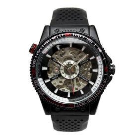 自動巻き腕時計 回転ベゼル ブラック文字盤 ミリタリー ATW024-BLK メンズ腕時計   手巻き機能付き自動巻腕時計 保証付き