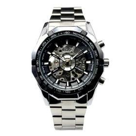 自動巻き腕時計 重厚なビックケース スケルトン腕時計 ATW025-BLK メンズ腕時計   手巻き機能付き自動巻腕時計 保証付き