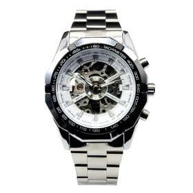 自動巻き腕時計 重厚なビックケース スケルトン腕時計 ATW025-WHT メンズ腕時計   手巻き機能付き自動巻腕時計 保証付き