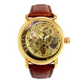 自動巻き腕時計 無反射コーティング ブルーガラス スケルトン ATW033-GLD メンズ腕時計   手巻き機能付き自動巻腕時計 保証付き