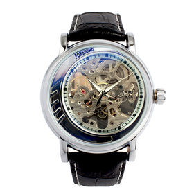 自動巻き腕時計 無反射コーティング ブルーガラス スケルトン ATW033-SLV メンズ腕時計 | 手巻き機能付き自動巻腕時計 保証付き