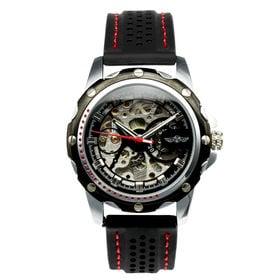 自動巻き腕時計 ミリタリーテイスト スケルトン シンプル ATW034-BLK メンズ腕時計 | 手巻き機能付き自動巻腕時計 保証付き