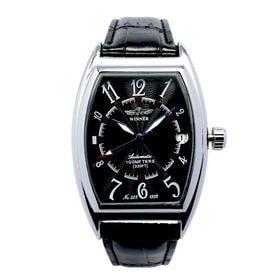 自動巻き腕時計 トノーケース 日付カレンダー シンプル ATW035-SVBK メンズ腕時計 | 手巻き機能付き自動巻腕時計 保証付き