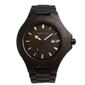木製腕時計 日本製ムーブメント 日付機能 47mmビッグケース WDW003-03 | メンズ腕時計 保証付き