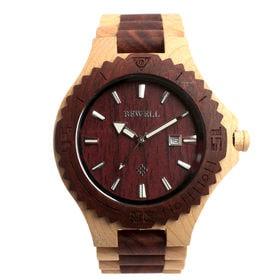 木製腕時計 日本製ムーブメント 日付機能 47mmビッグケース WDW003-04 | メンズ腕時計 保証付き