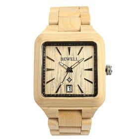 木製腕時計 日本製ムーブメント 日付機能 40mm スクエア WDW010-01 | メンズ腕時計 保証付き