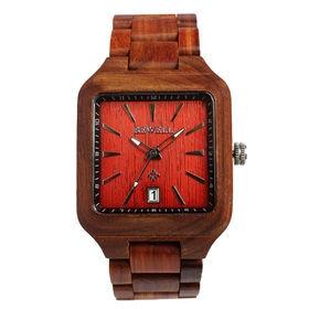 木製腕時計 日本製ムーブメント 日付機能 40mm スクエア WDW010-02 | メンズ腕時計 保証付き