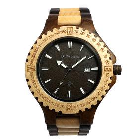 木製腕時計 日本製ムーブメント 日付機能 47mmビッグケース WDW012-03 | メンズ腕時計 保証付き