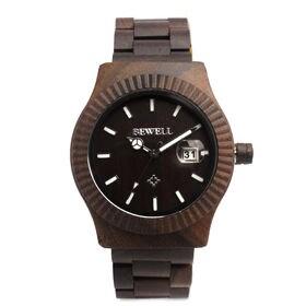 木製腕時計 日本製ムーブメント 日付カレンダー 40mmケース WDW015-03 | メンズ腕時計 保証付き
