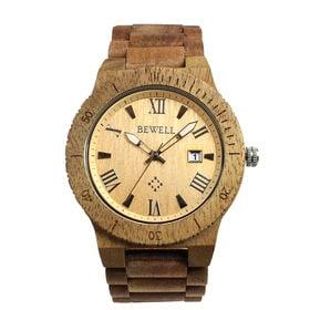 木製腕時計 日本製ムーブメント 日付カレンダー 軽い 軽量 WDW017-01 | メンズ腕時計 保証付き