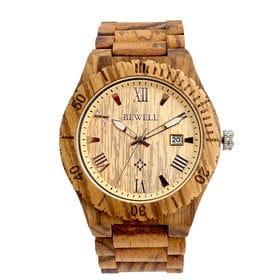 木製腕時計 日本製ムーブメント 日付カレンダー 軽い 軽量 WDW017-05   メンズ腕時計 保証付き