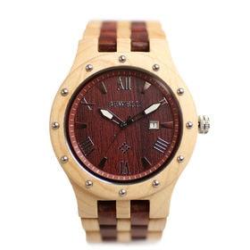 木製腕時計 日本製ムーブメント 日付カレンダー 軽い 軽量 WDW018-02 | メンズ腕時計 保証付き