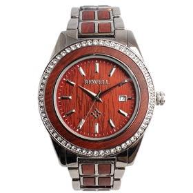 木製腕時計 木製ポイントデザイン メタルバンド ラインストーン WDW023-02 | メンズ腕時計 保証付き