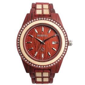 木製腕時計 木製ポイントデザイン メタルバンド ラインストーン WDW023-03 | メンズ腕時計 保証付き