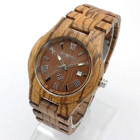 木製腕時計 日付カレンダー セイコーインスツル ムーブメント...