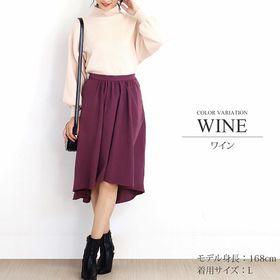 【ワイン・L】タック付きロング丈ウエストゴムフレアスカート