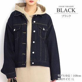 【ブラック・L】ビッグシルエットデニムジャケット