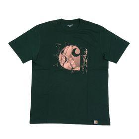 【XSサイズ/グリーン】[CARHARTT] Tシャツ BROKEN GLASS T-SHIRT | コットン素材で着心地はバツグン!大胆なグラフィックがアクセントに♪