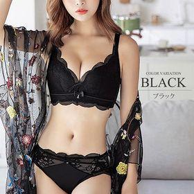 【ブラック80A】レースブラジャーショーツセット