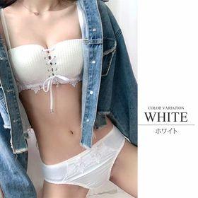 【ホワイトXL】チューブトップノンワイヤーブラジャーショーツ...