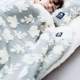 【グレー】moz ジャガードボア2枚合わせ毛布