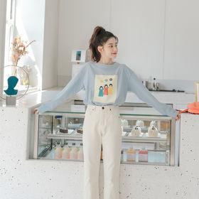 【ブルー/F】カジュアルPOPプリントロングTシャツ 769...