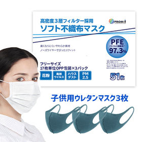 <51枚入り>高密度3層フィルター採用 ソフト不織布マスク【子供用洗えるマスク3枚オマケ付】   痛くなりにくいやわらか素材採用。ノーズワイヤーでぴったりフィット!メール便で楽々受け取り♪