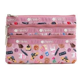 [LeSportsac]ポーチ 3-ZIP COSMETIC ピンク系 | 三段階に分かれたポケットですっきり整理整頓!旅行時のお財布代わりにも◎