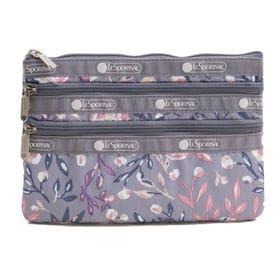 [LeSportsac]ポーチ 3-ZIP COSMETIC グレー系 | 三段階に分かれたポケットですっきり整理整頓!旅行時のお財布代わりにも◎
