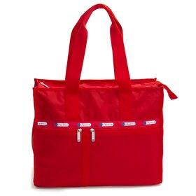 [LeSportsac]トートバッグ DELUXE E/W TOTE レッド | A4サイズがすっぽり収納できる大きめのサイズ感は通勤や通学にも◎