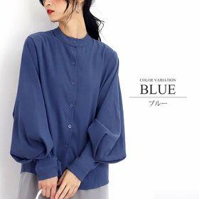 【ブルー・XL】バルーンスリーブクルーネックシャツ