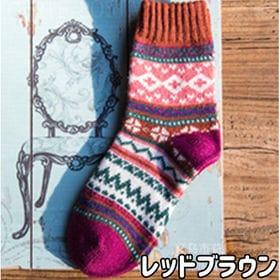 【レッドブラウン】レディース 靴下 5足セット 秋冬 暖かい...