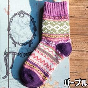 【パープル】レディース 靴下 5足セット 秋冬 暖かい かわ...