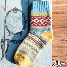 【ブルー】レディース 靴下 5足セット 秋冬 暖かい かわい...