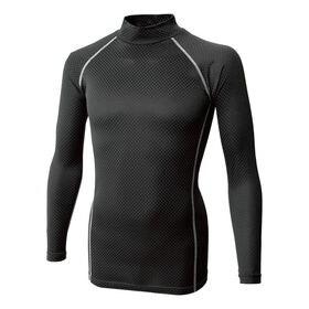 【ブラック/サイズ3L】BT織柄チェック ハイネックシャツ