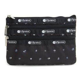[LeSportsac]ポーチ 3-ZIP COSMETIC ブラック | 三段階に分かれたポケットですっきり整理整頓!旅行時のお財布代わりにも◎