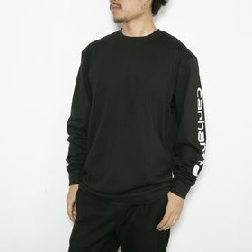 Lサイズ[CARHARTT]カットソー M HW L/S GRAPHIC T-SHIRT ブラック | 左袖にあしらったブランドロゴがアクセントに!ゆとりのあるサイズ感が◎