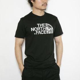 Mサイズ[THE NORTH FACE]Tシャツ M S/S WOODCUT DOME ブラック | ウッド調デザインのロゴグラフィックが存在感バツグン!