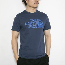 Mサイズ[THE NORTH FACE]Tシャツ M S/S WOODCUT DOME ネイビー | ウッド調デザインのロゴグラフィックが存在感バツグン!