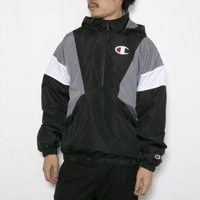 Sサイズ[CHAMPION]ジャケット STADIUM ANORAK ブラック×グレー×ホワイト | 配色で切り替えたデザインにセンスの光るアノラックジャケット!