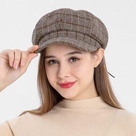 【ベージュF】レディース 帽子ハットキャップグラフチェックキャスケット | 秋冬トレンドのチェック柄のキャスケット♪